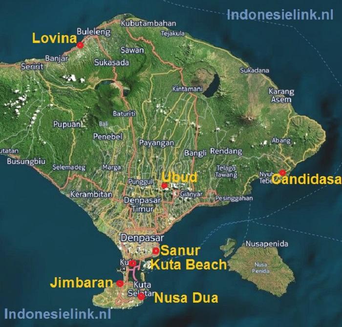 Bali plaatsen steden dorpen en badplaatsen in bali indonesie bali kaart met steden dorpen en badplaatsen altavistaventures Gallery
